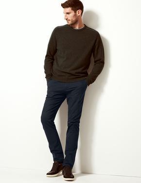 Erkek Lacivert Slim Fit Chino Pantolon