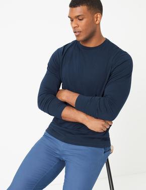 Lacivert Saf Pamuklu Uzun Kollu T-Shirt