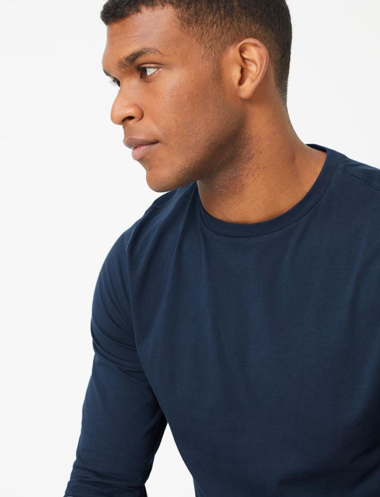 Erkek Lacivert Saf Pamuklu Uzun Kollu T-Shirt