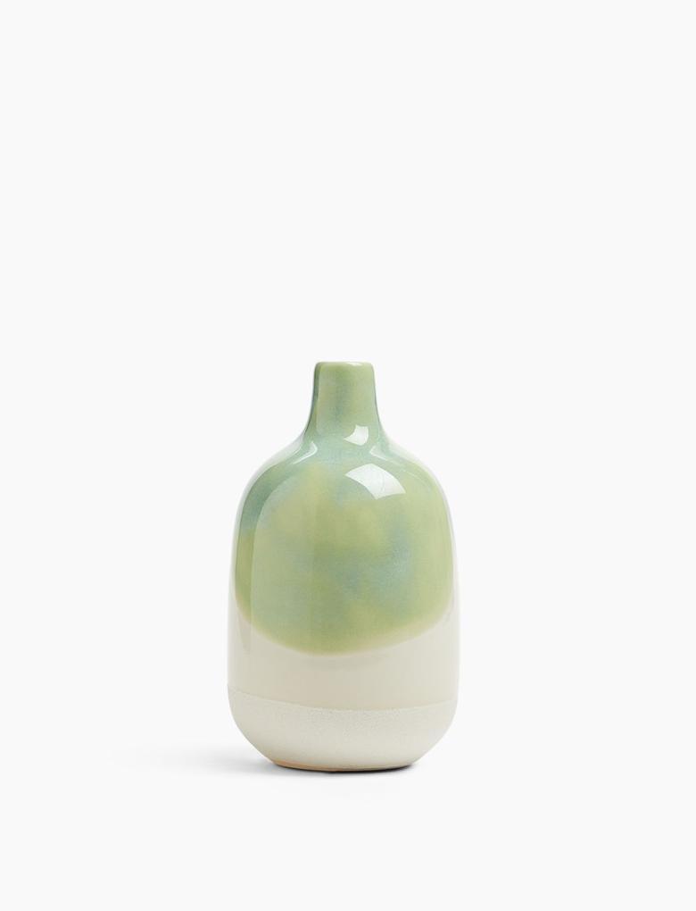 Ev Yeşil Desenli Seramik Vazo