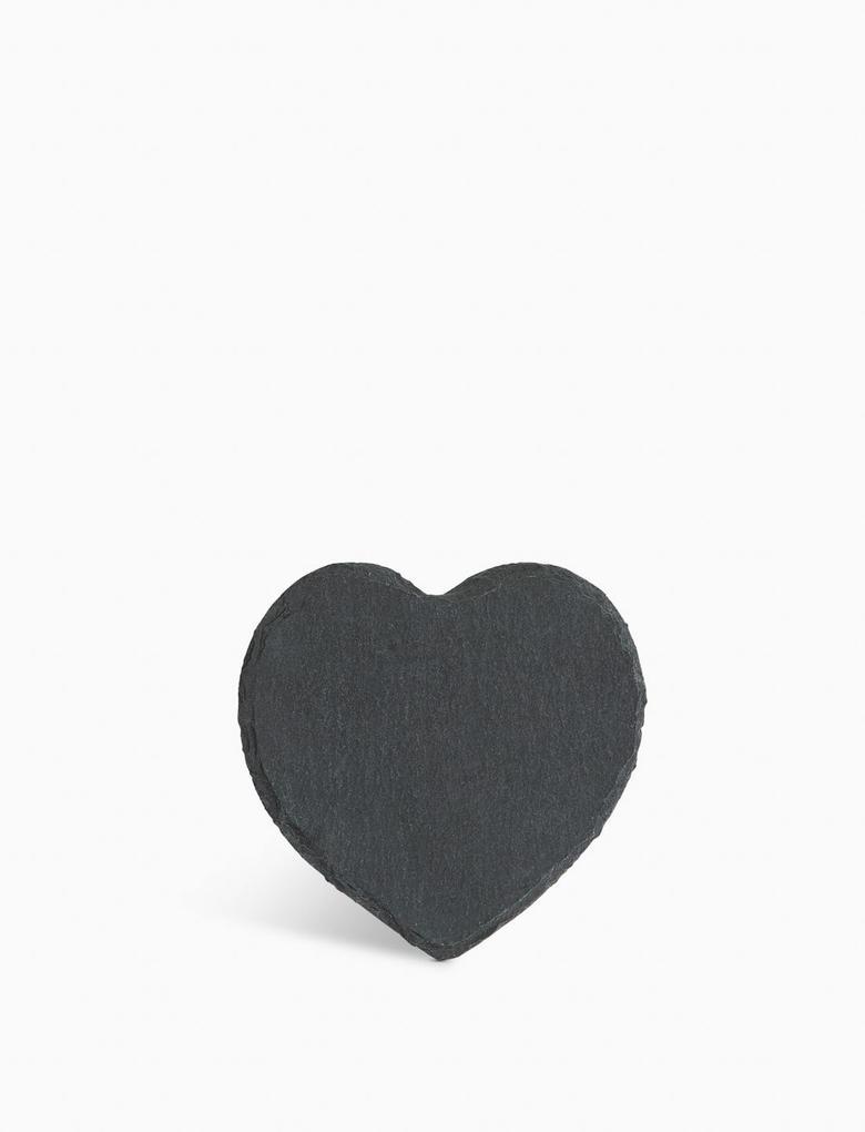 Ev Gri 4'lü Kalp Şeklinde Bardak Altlığı Seti