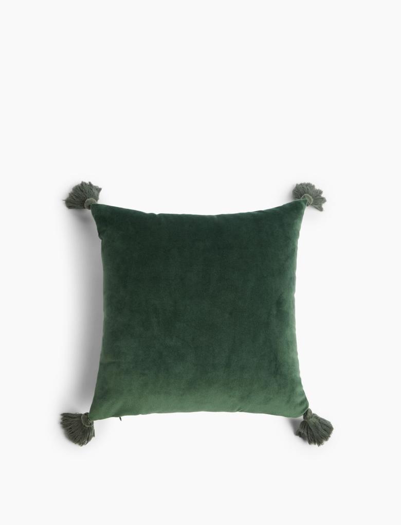 Ev Yeşil Mini Kadife Dekoratif Yastık