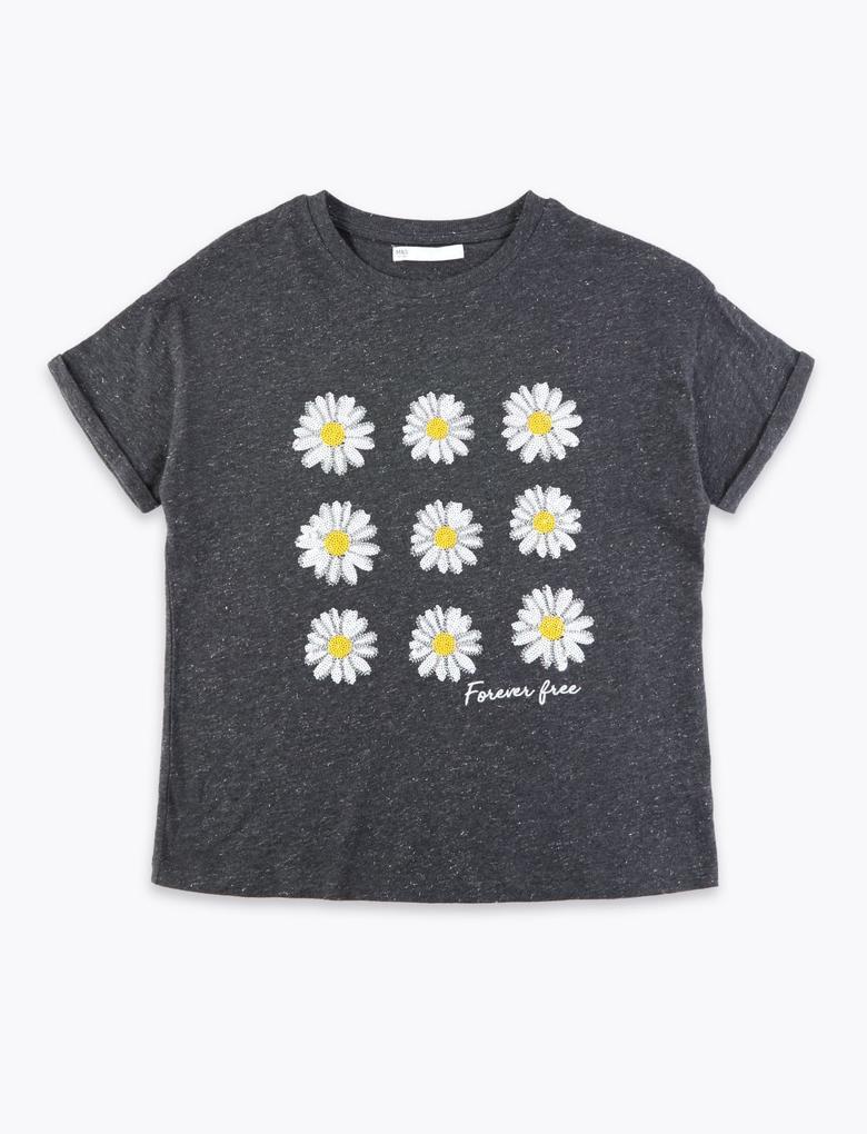 Kız Çocuk Gri Papatya Desenli Kısa Kollu T-Shirt
