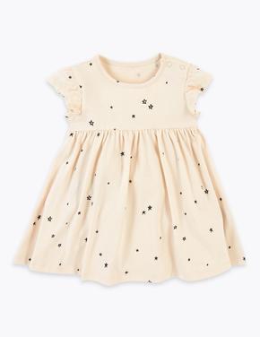 Bebek Bej Yıldız Desenli Elbise