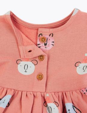 Bebek Pembe Desenli Uzun Kollu Elbise