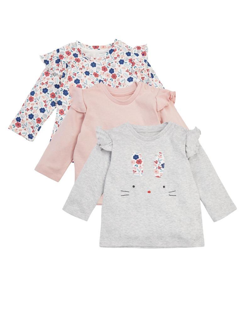 Bebek Gri 3'lü Tavşan Desenli T-Shirt Seti