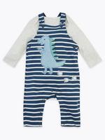 Bebek Lacivert Dinozor Desenli Salopet ve Body Takımı