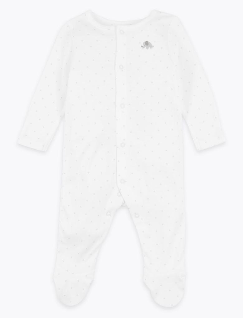Bebek Beyaz Organik Pamuklu Yıldız Desenli Tulum