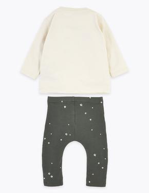 Bebek Bej Yıldız Desenli Üst ve Alt Takım