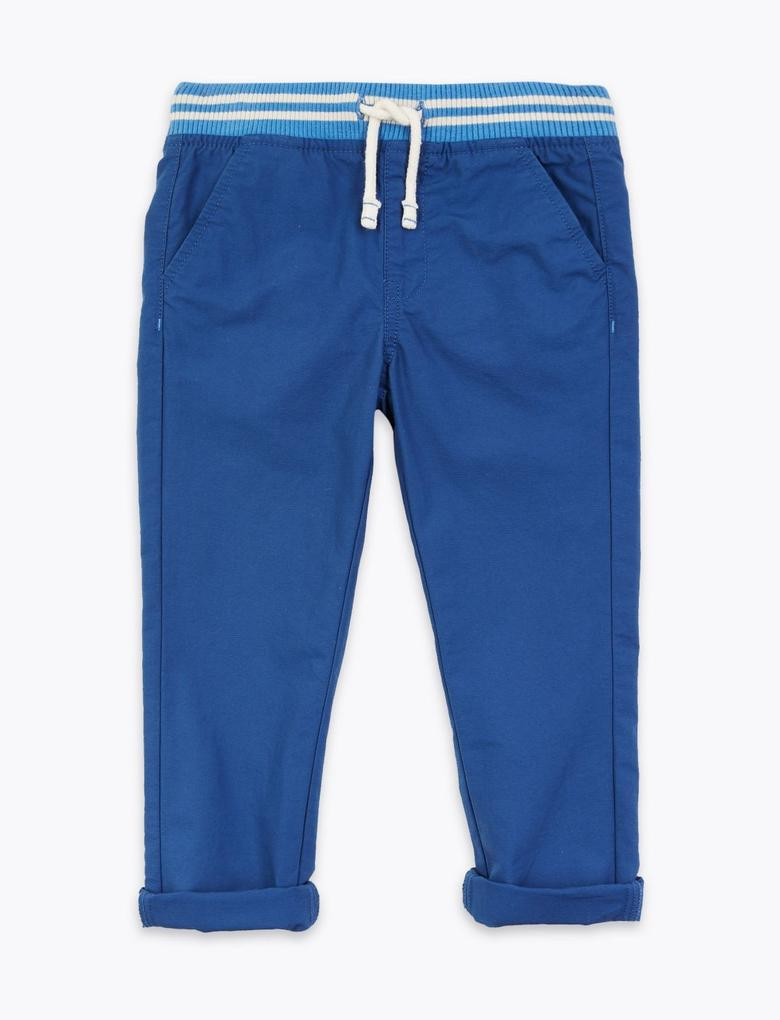 Erkek Çocuk Lacivert Bağcıklı Pamuklu Pantolon