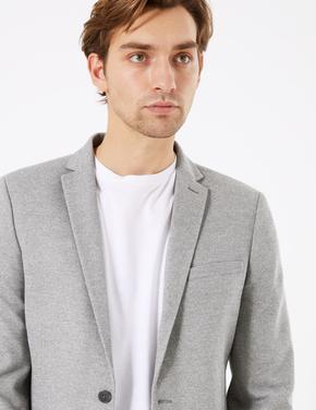 Erkek Gri Dokulu Slim Fit Ceket