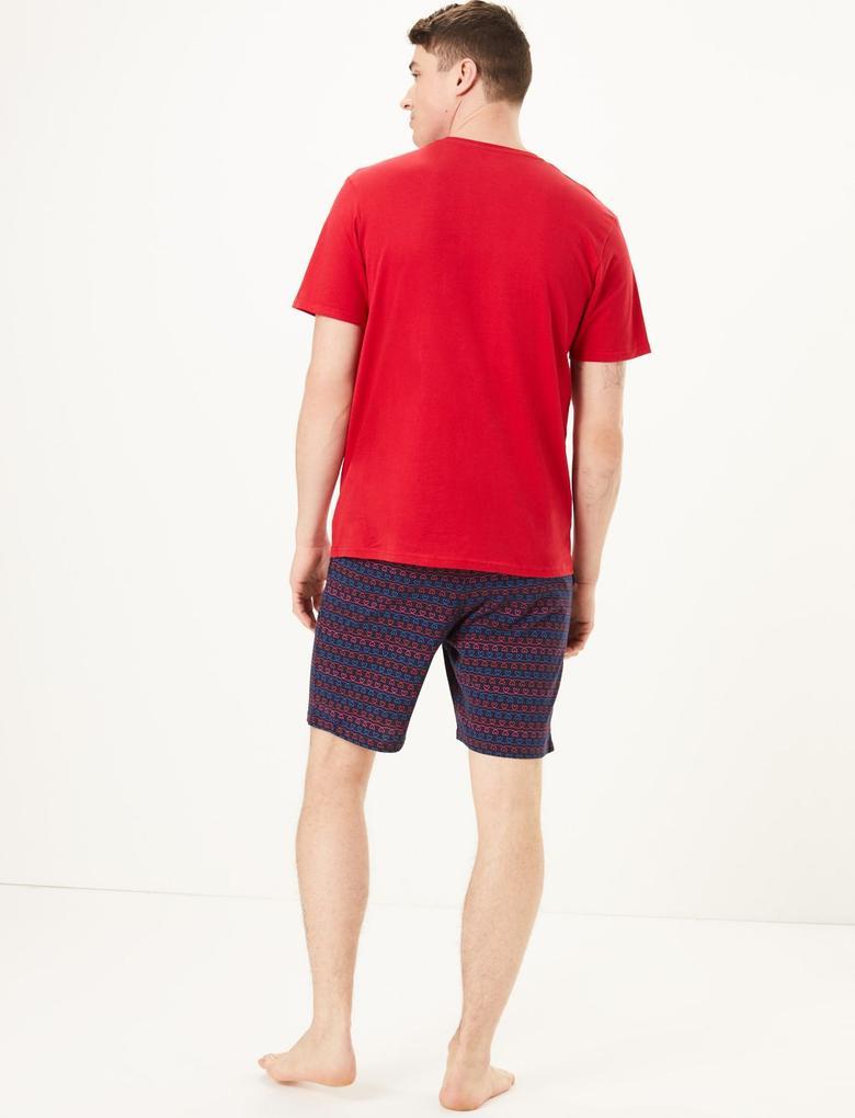 Erkek Kırmızı Kalp Desenli Pijama Takımı