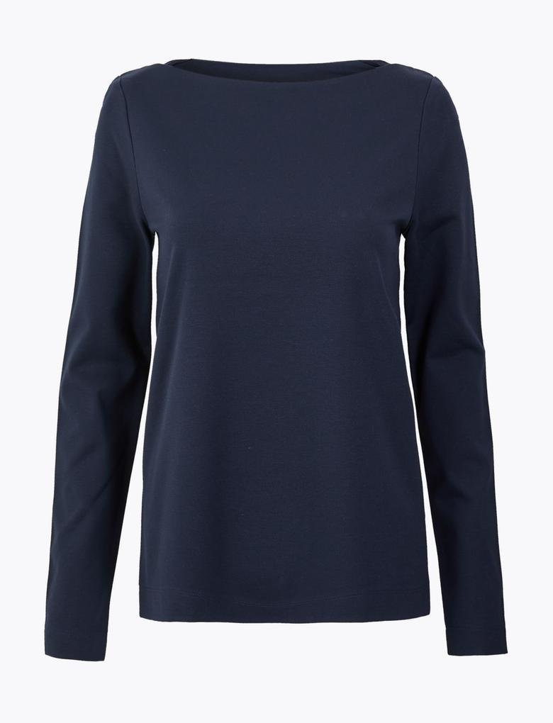 Kadın Lacivert Uzun Kollu T-Shirt