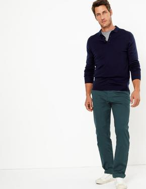 Erkek Mavi Regular Fit Chino Pantolon