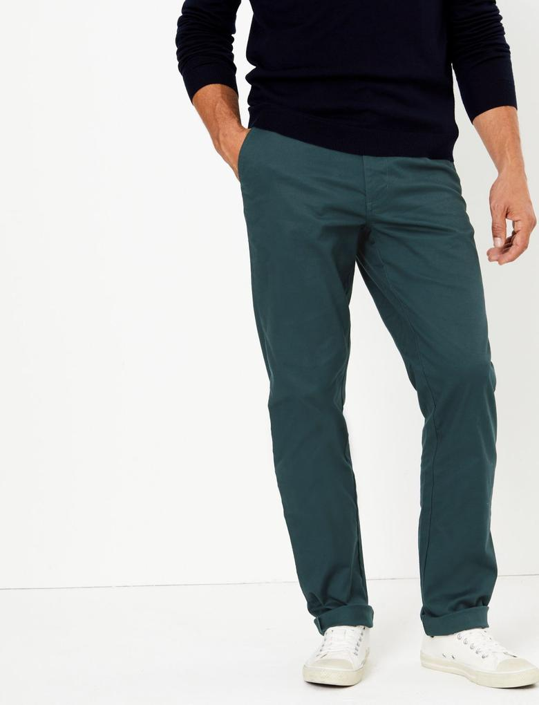 Erkek Mavi Regular Fit Chino Pantolon