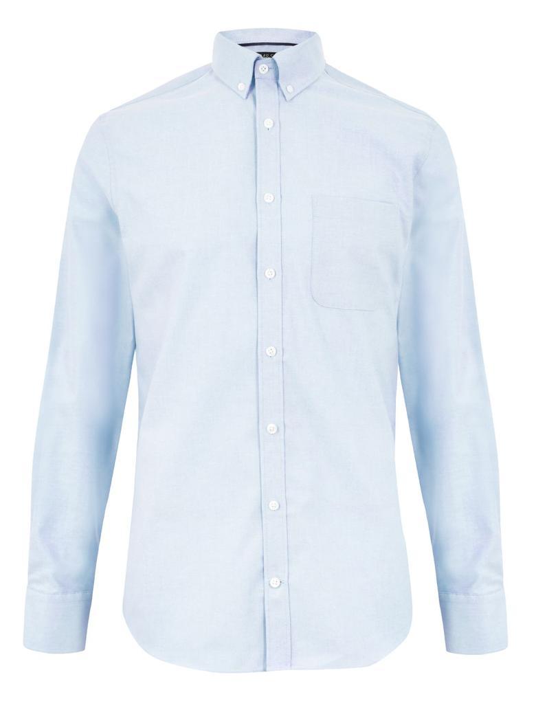 Erkek Mavi Tailored Fit Oxford Gömlek