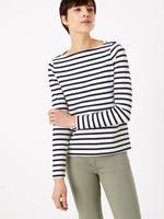 Kadın Lacivert Çizgili Uzun Kollu T-Shirt
