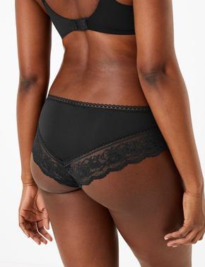 Kadın Siyah Dantelli Brazilian Külot