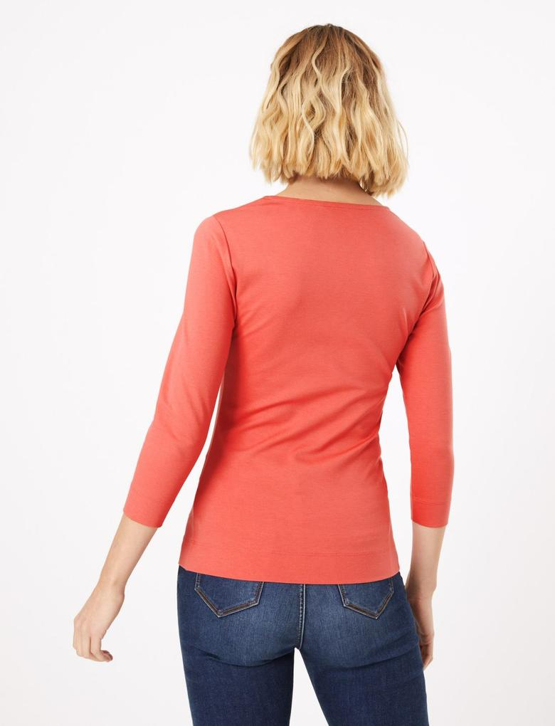 Kadın Kırmızı V Yaka T-Shirt