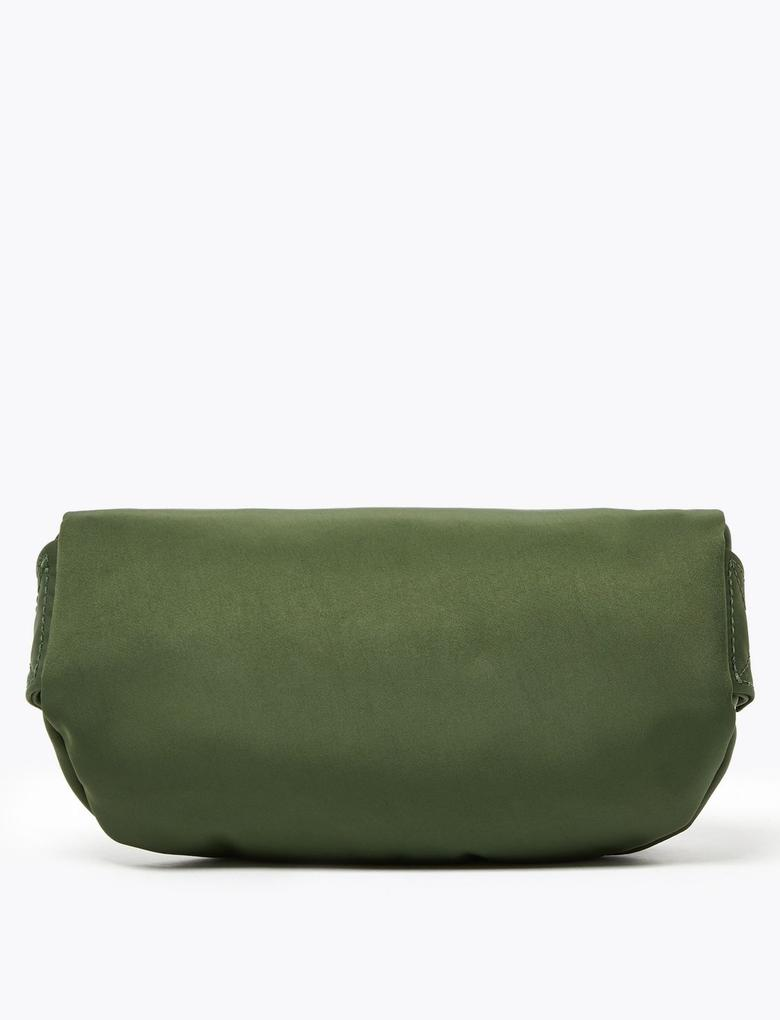 Kadın Yeşil Fermuar Detaylı Bel Çantası