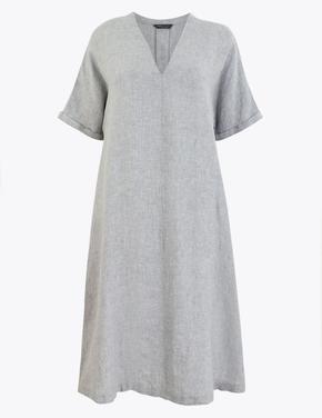 Kadın Gri V Yaka Keten Elbise