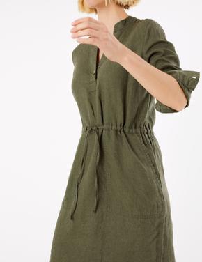Kadın Yeşil Keten Midi Gömlek Elbise