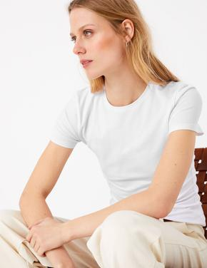 Kadın Beyaz Kısa Kollu Fitted T-Shirt