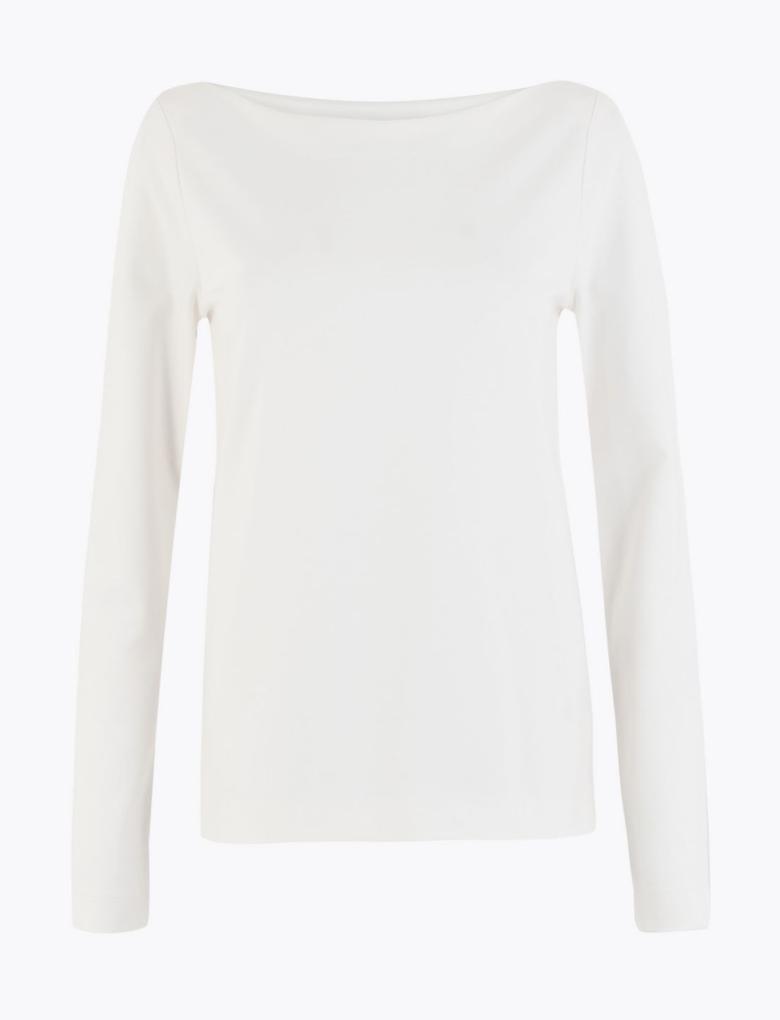 Kadın Beyaz Uzun Kollu T-Shirt