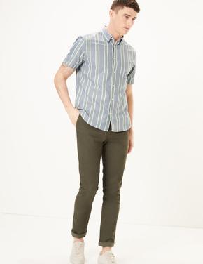 Erkek Mavi Çizgili Oxford Gömlek