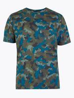 Erkek Yeşil Active Kamuflaj Desenli T-Shirt