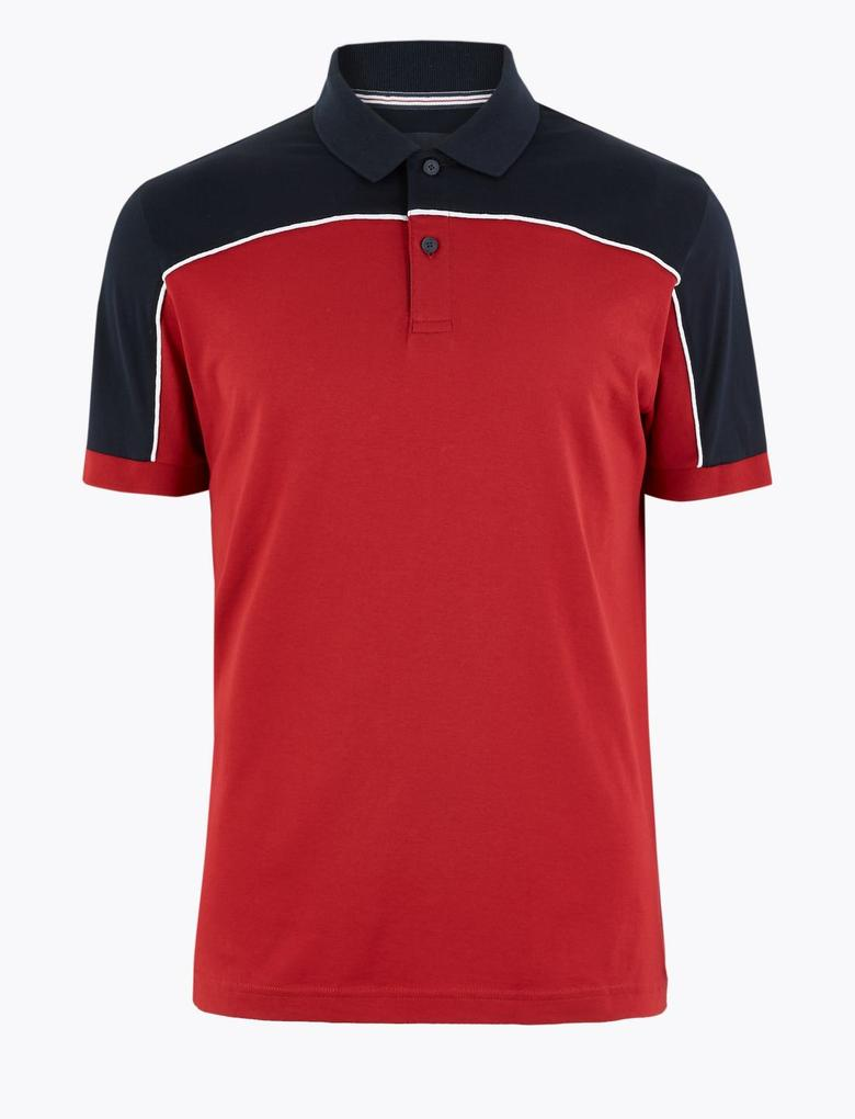 Erkek Kırmızı Luxury Supima® Renk Bloklu Polo Yaka T-Shirt