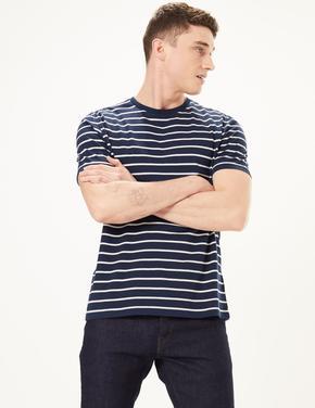 Erkek Lacivert Saf Pamuklu Çizgili T-Shirt