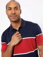 Erkek Kırmızı Çizgili Polo Yaka T-shirt