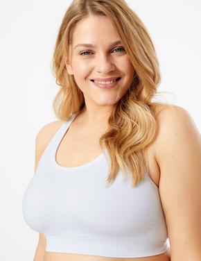 Kadın Beyaz Dikişsiz Orta Etkili Spor Sütyeni
