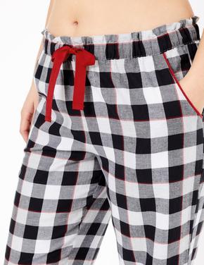 Kadın Siyah Saf Pamuklu Ekose Pijama Altı