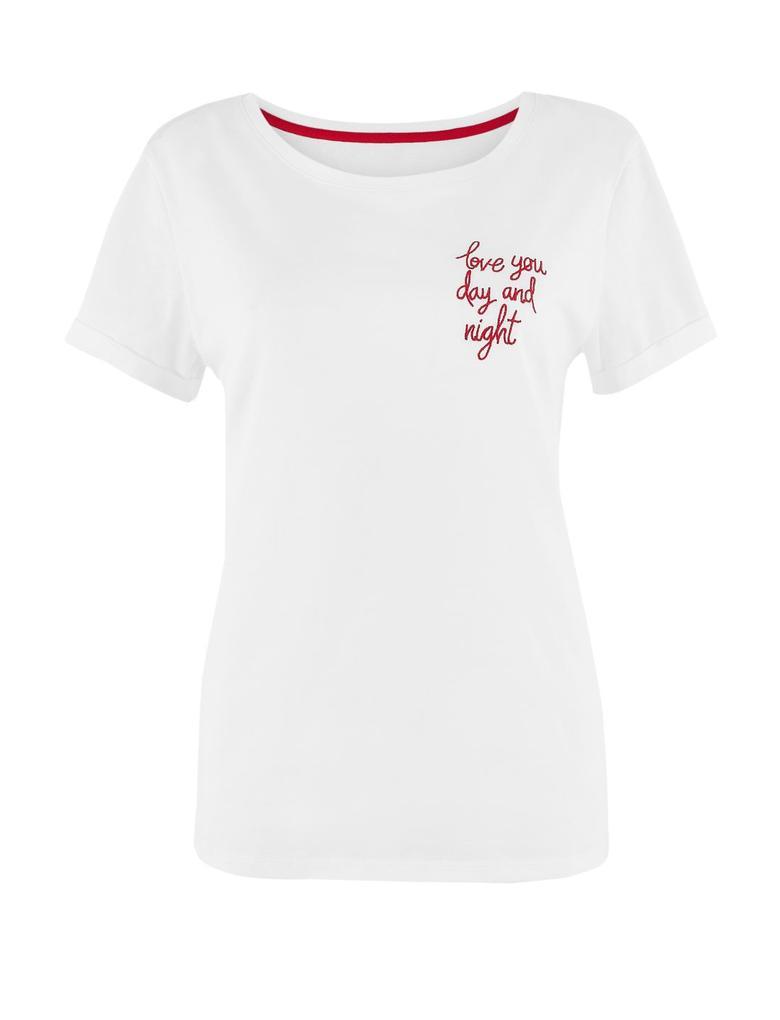 Kadın Beyaz Saf Pamuklu Sloganlı Pijama Üstü