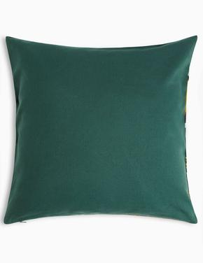 Ev Yeşil İşlemeli Dekoratif Yastık