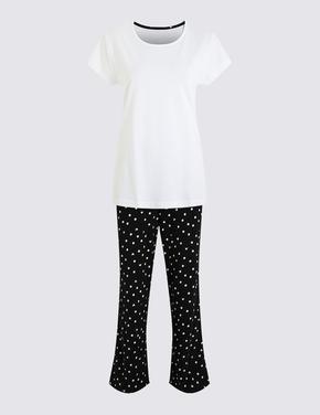 Kadın Siyah Kalp Desenli Kısa Kollu Pijama Takımı