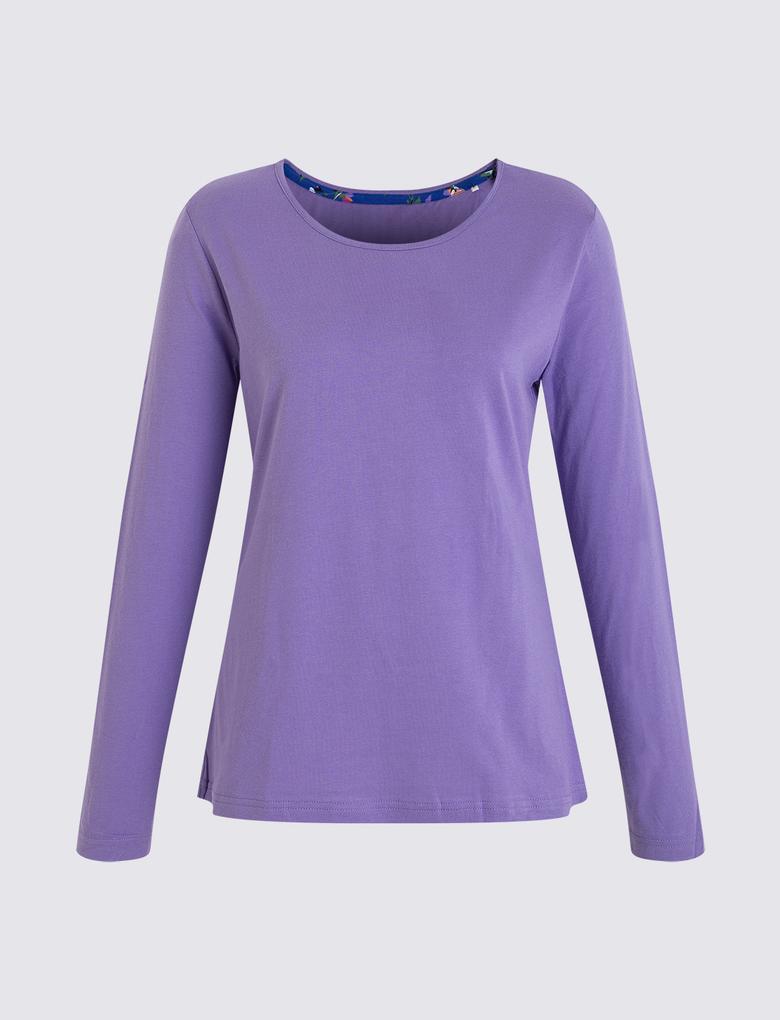 Kadın Mavi İşlemeli Uzun Kollu Pijama Takımı