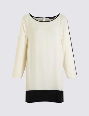 Kadın Siyah Kontrast Renkli Tunik