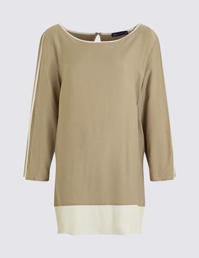 Kadın Kahverengi Kontrast Renkli Tunik