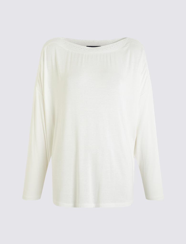 Kadın Beyaz Yarasa Kollu Bluz