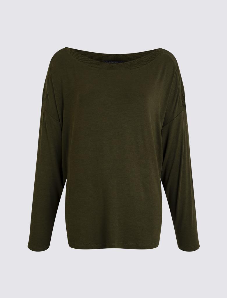 Kadın Yeşil Yarasa Kollu Bluz