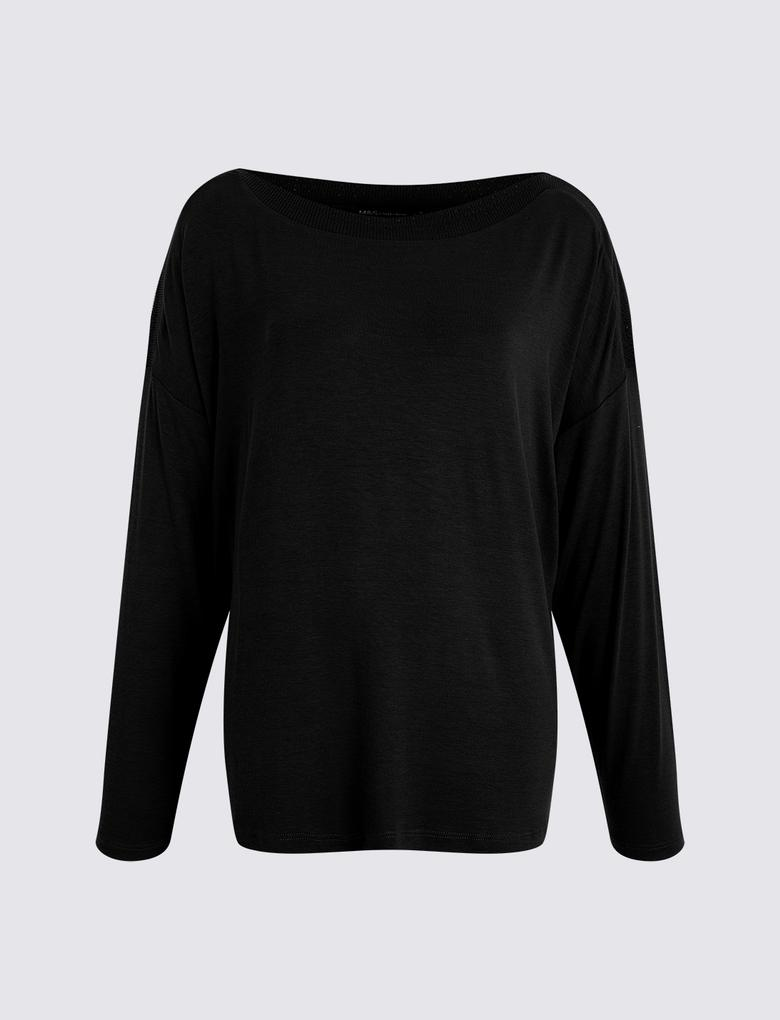 Kadın Siyah Yarasa Kollu Bluz