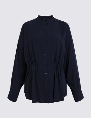 Kadın Lacivert Armürlü Bluz