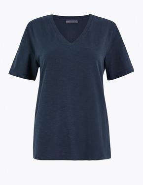 Kadın Lacivert Saf Pamuklu Straight Fit T-Shirt