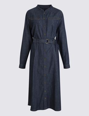Kadın Mavi Denim Midi Elbise