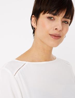 Kadın Beyaz Uzun Kollu Bluz