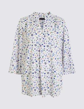 Kadın Krem Çiçek Desenli Bluz