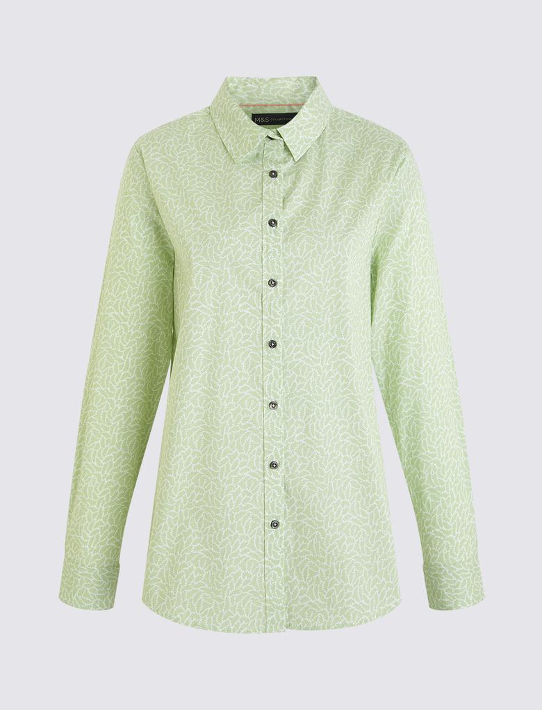 Kadın Yeşil Desenli Gömlek